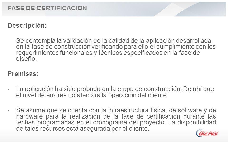FASE DE CERTIFICACION Descripción:
