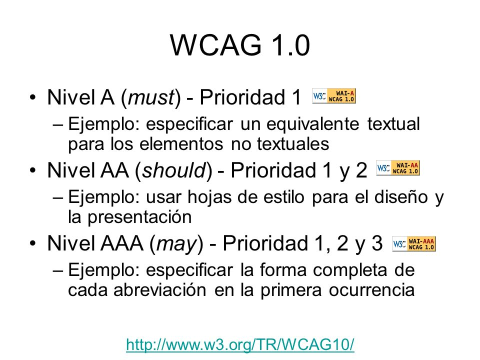WCAG 1.0 Nivel A (must) - Prioridad 1