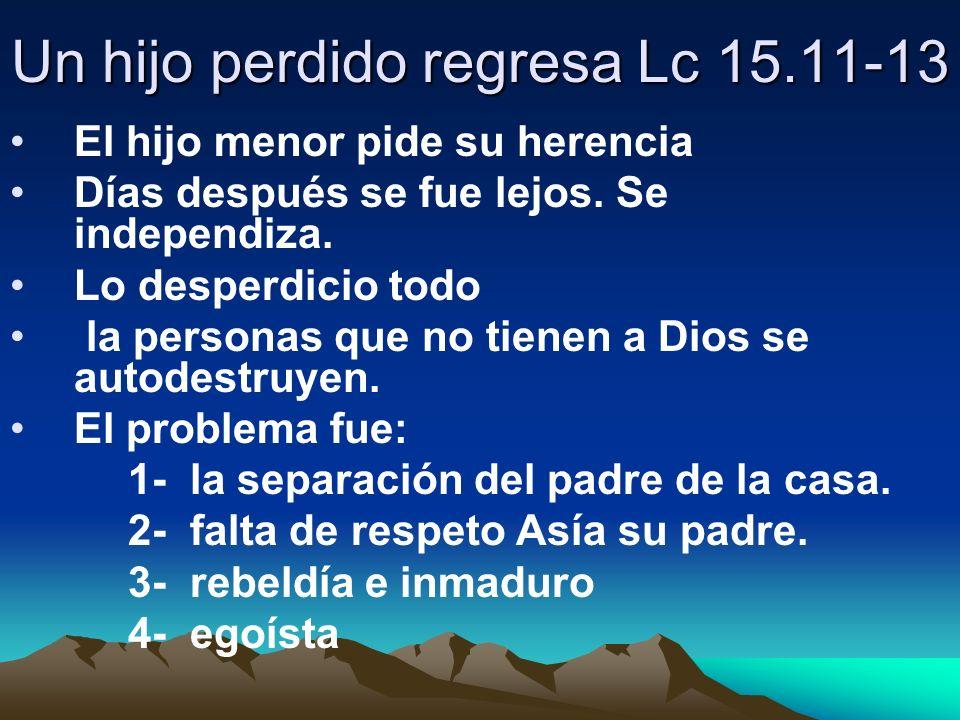 Un hijo perdido regresa Lc 15.11-13