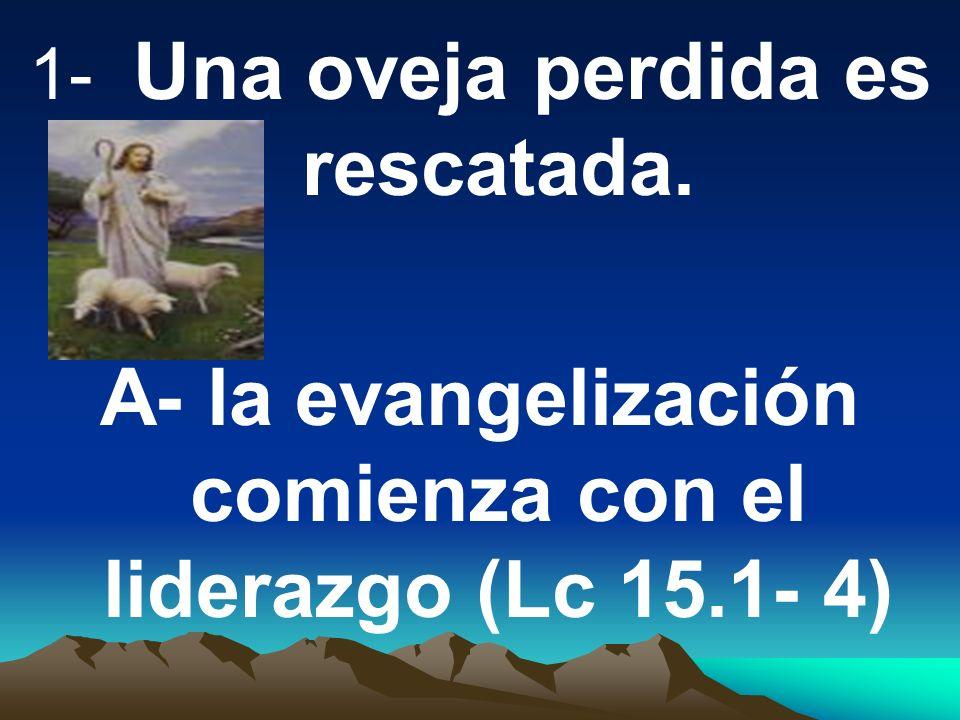 A- la evangelización comienza con el liderazgo (Lc 15.1- 4)