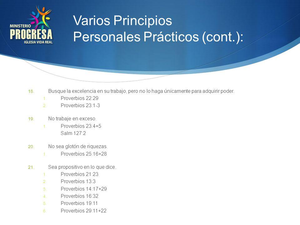 Varios Principios Personales Prácticos (cont.):