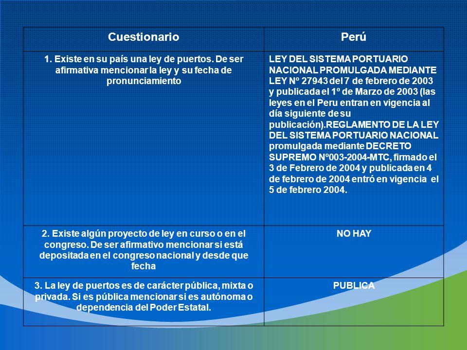Cuestionario Perú. 1. Existe en su país una ley de puertos. De ser afirmativa mencionar la ley y su fecha de pronunciamiento.