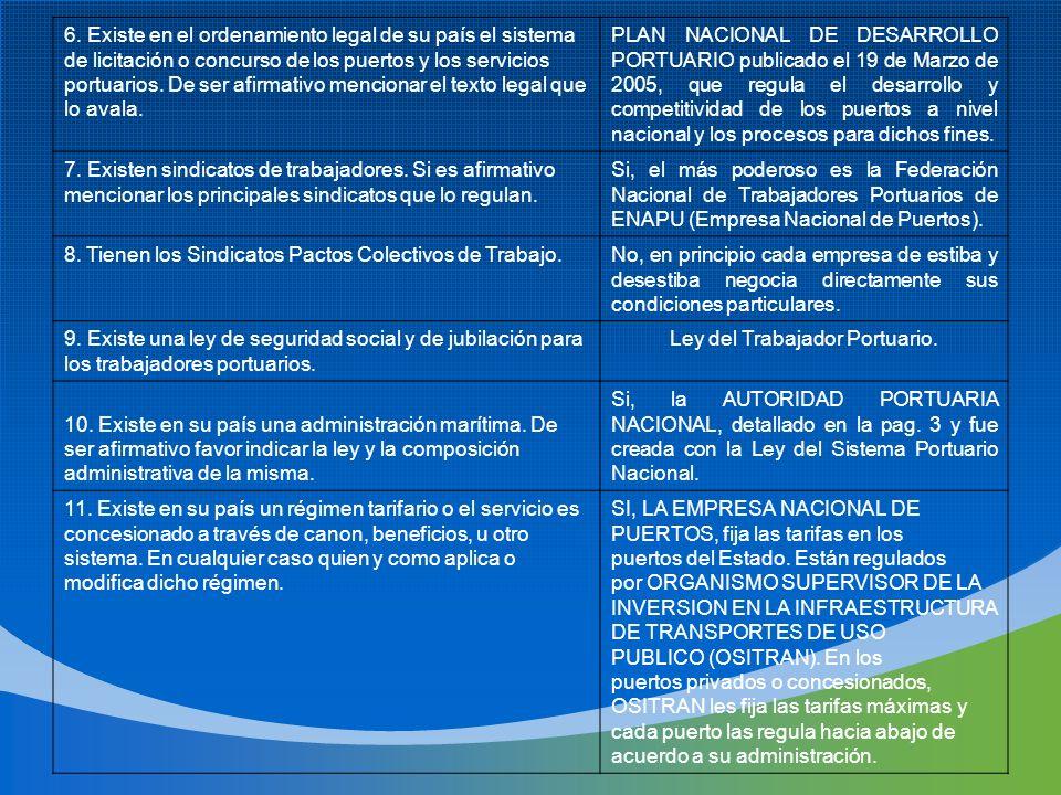 Ley del Trabajador Portuario.