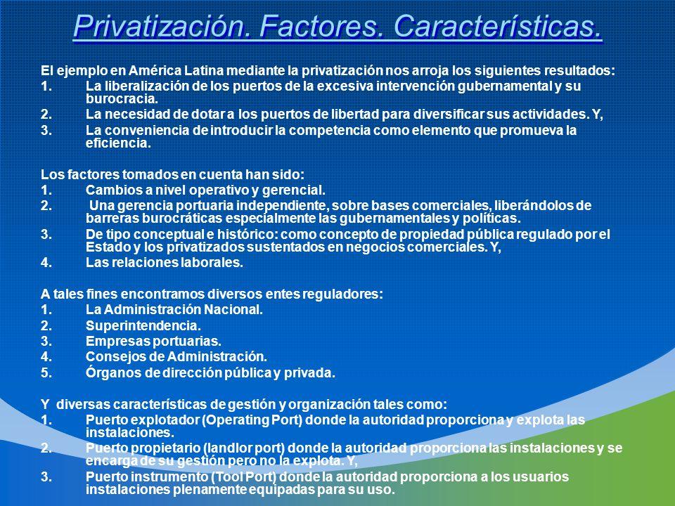 Privatización. Factores. Características.