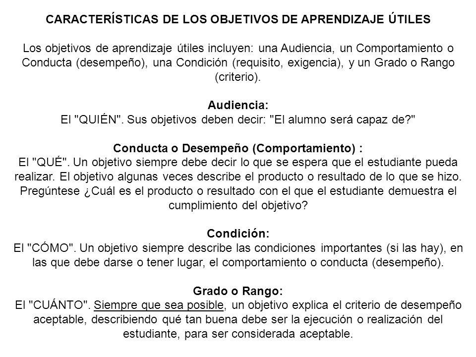 CARACTERÍSTICAS DE LOS OBJETIVOS DE APRENDIZAJE ÚTILES