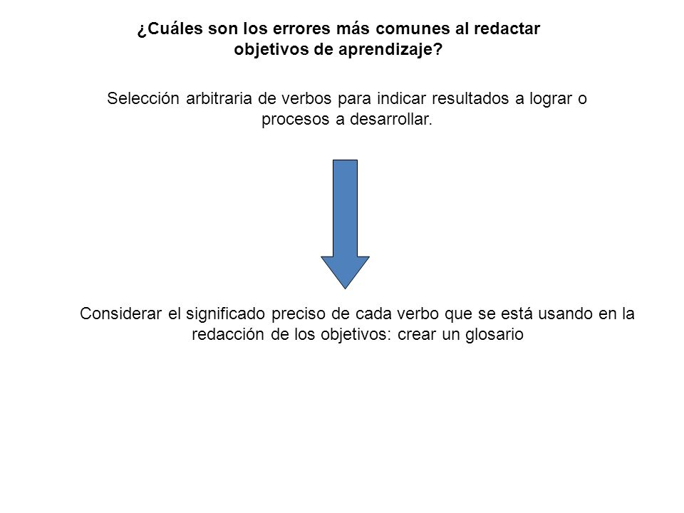 Selección arbitraria de verbos para indicar resultados a lograr o