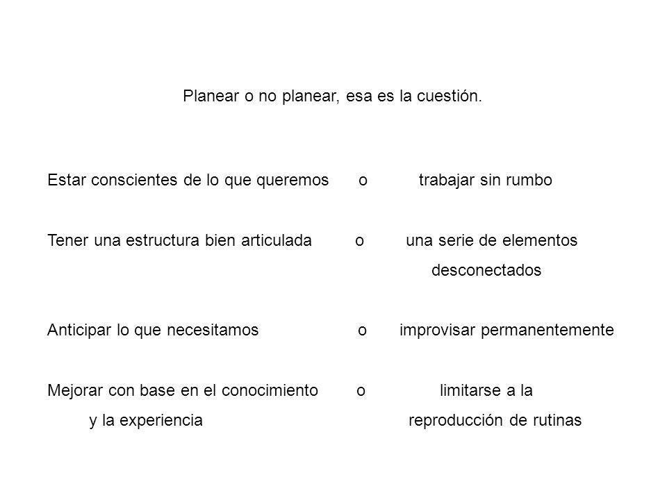 Planear o no planear, esa es la cuestión.