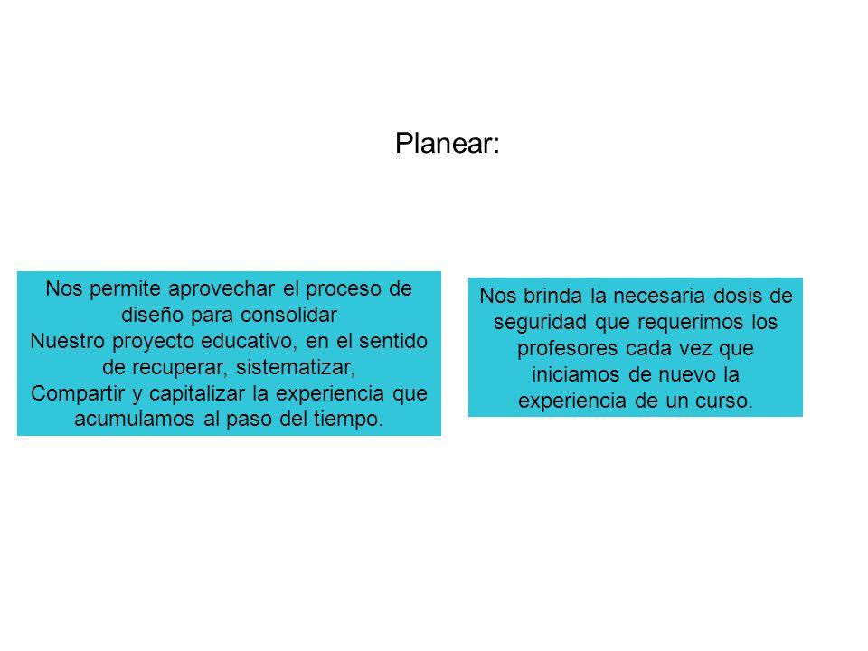 Planear: Nos permite aprovechar el proceso de diseño para consolidar