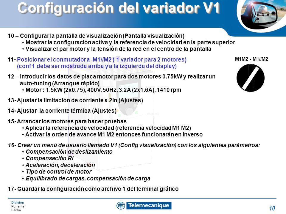 Configuración del variador V1