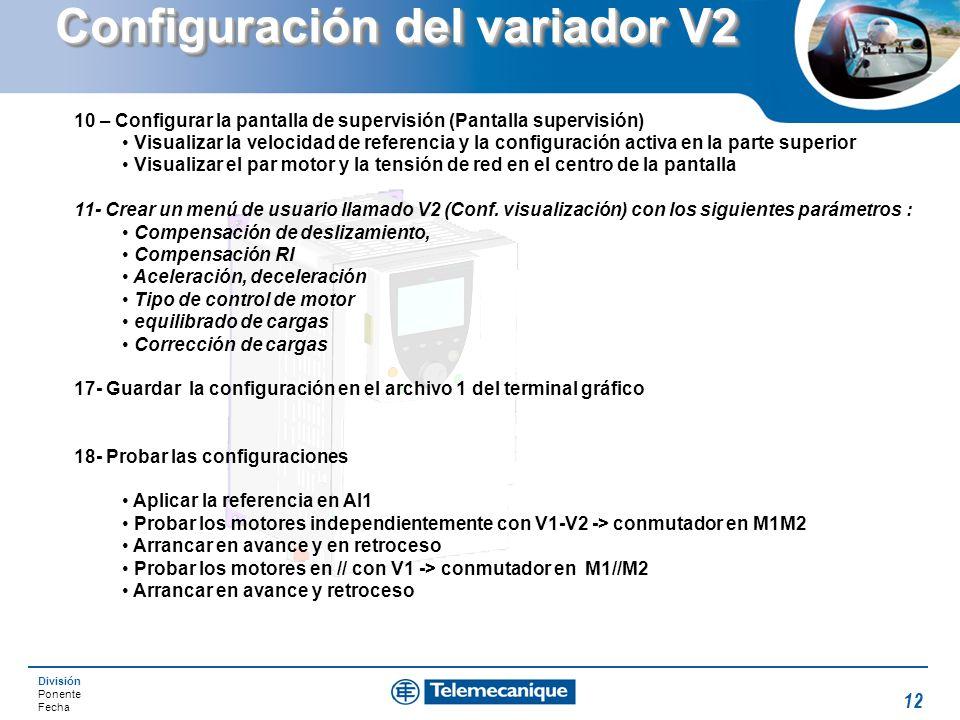 Configuración del variador V2