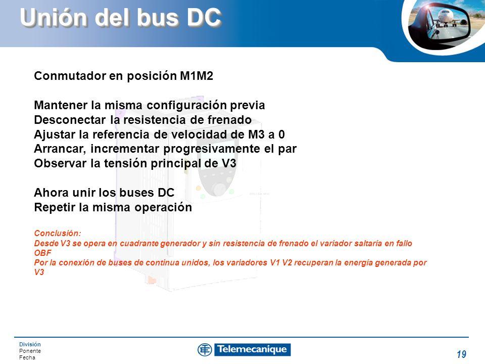 Unión del bus DC Conmutador en posición M1M2