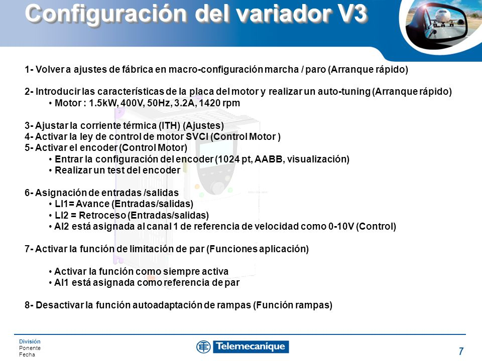 Configuración del variador V3