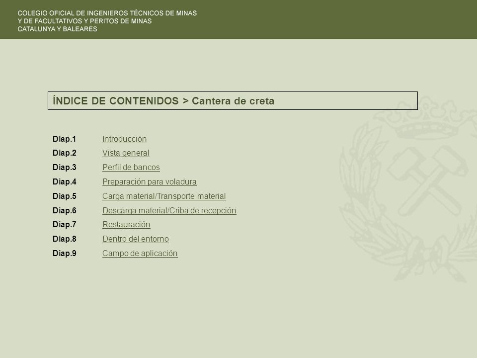 ÍNDICE DE CONTENIDOS > Cantera de creta