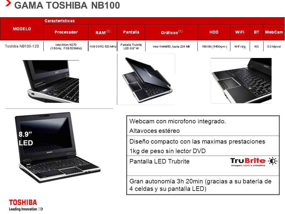 GAMA TOSHIBA NB100 8.9 LED Webcam con microfono integrado.