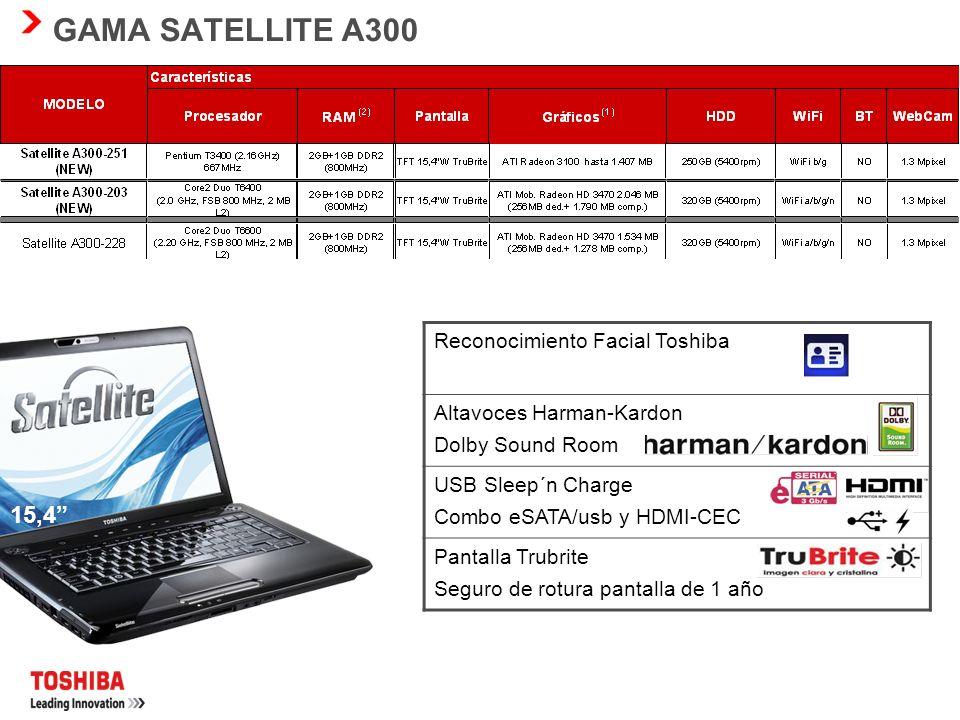 GAMA SATELLITE A300 15,4 Reconocimiento Facial Toshiba