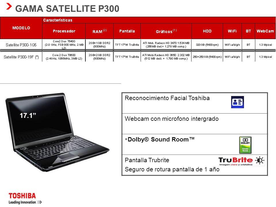 GAMA SATELLITE P300 17.1 17 Reconocimiento Facial Toshiba