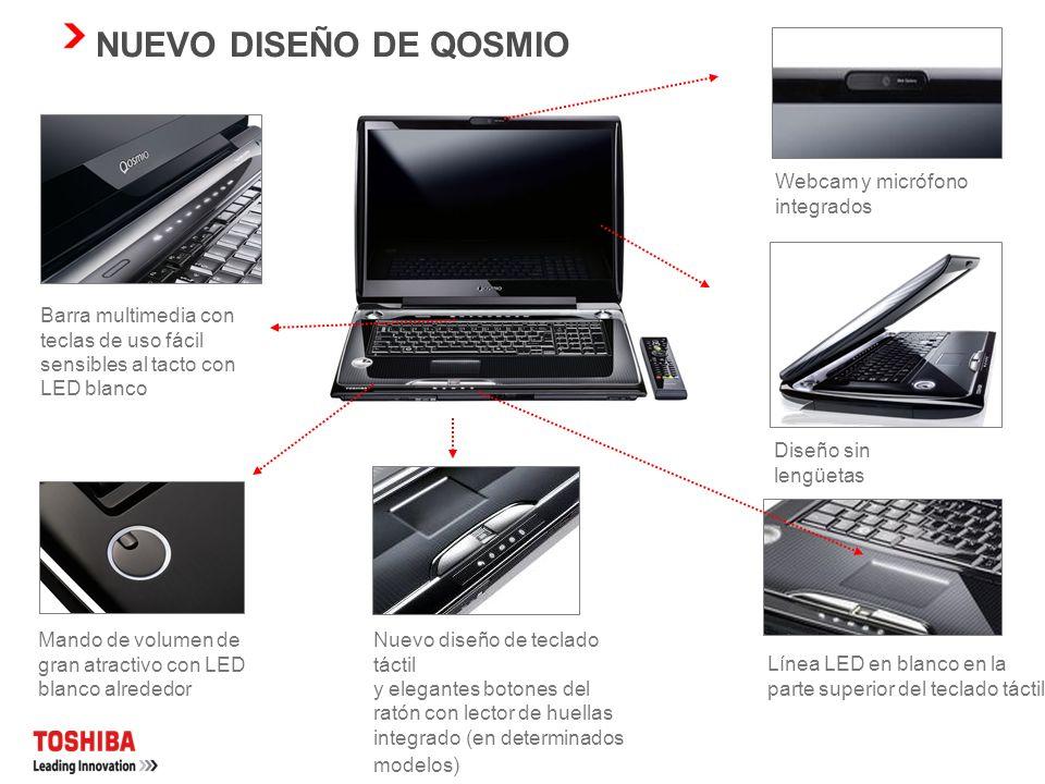 NUEVO DISEÑO DE QOSMIO Webcam y micrófono integrados