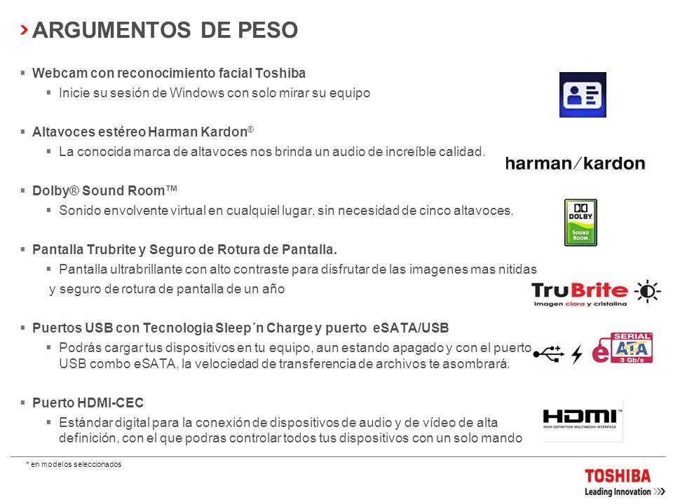 ARGUMENTOS DE PESO Webcam con reconocimiento facial Toshiba
