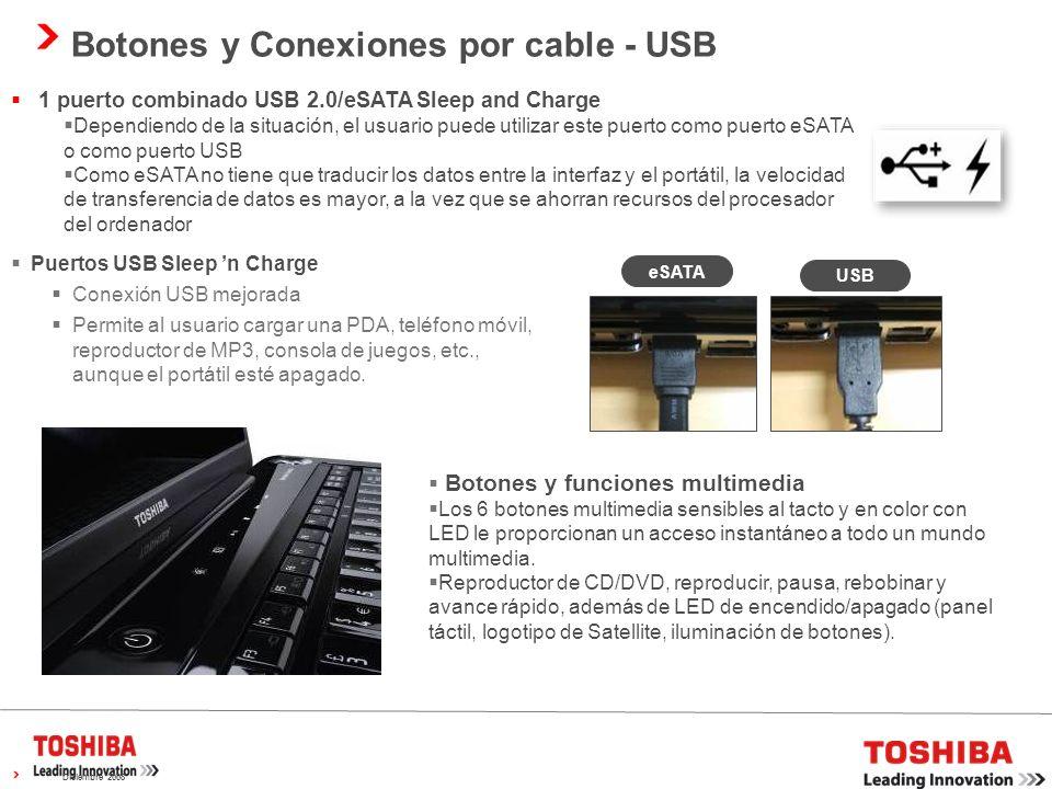Botones y Conexiones por cable - USB