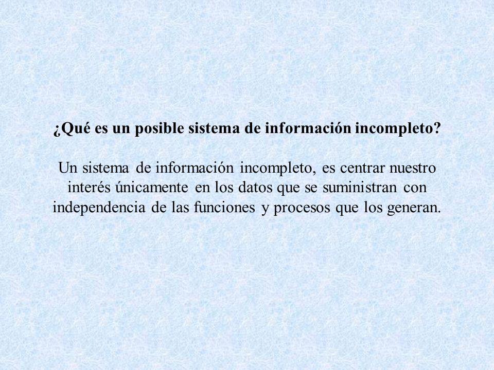 ¿Qué es un posible sistema de información incompleto