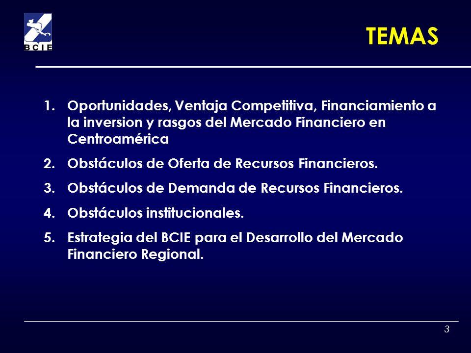 TEMASOportunidades, Ventaja Competitiva, Financiamiento a la inversion y rasgos del Mercado Financiero en Centroamérica.