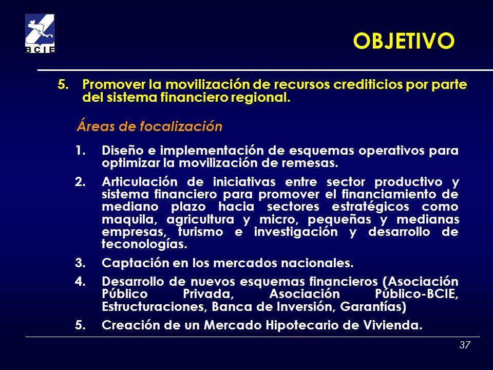 OBJETIVO 5. Promover la movilización de recursos crediticios por parte del sistema financiero regional.