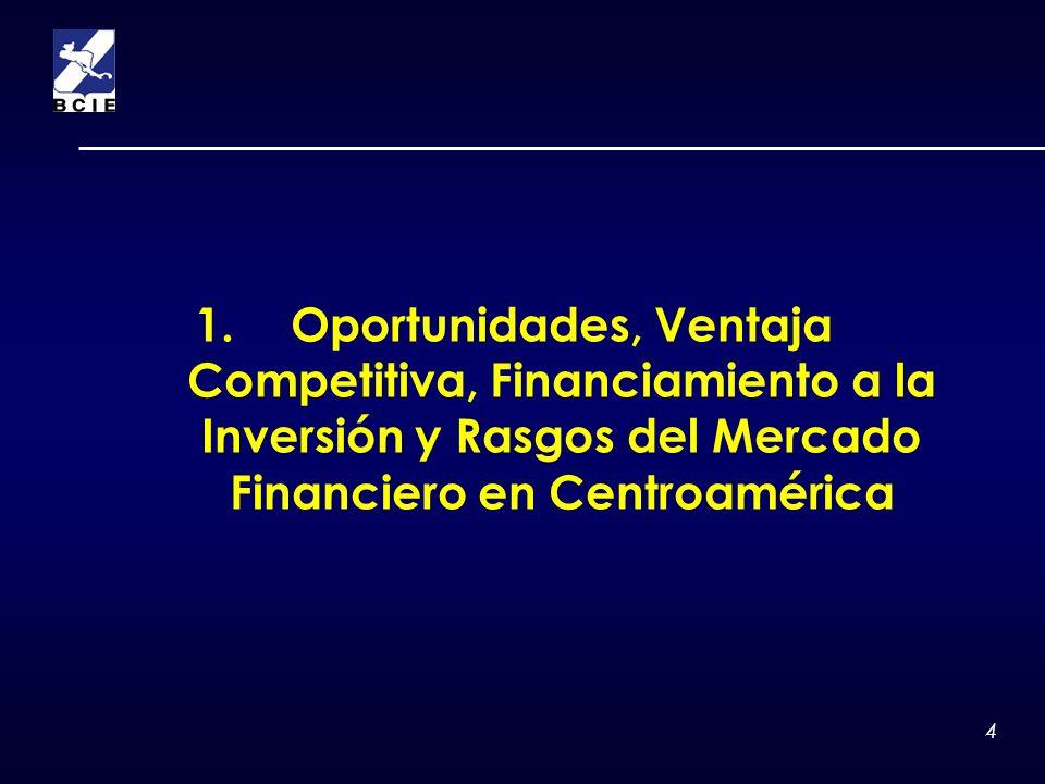 Oportunidades, Ventaja Competitiva, Financiamiento a la Inversión y Rasgos del Mercado Financiero en Centroamérica
