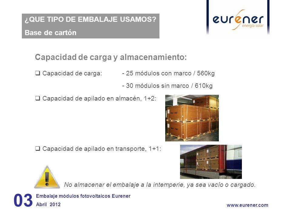 03 Capacidad de carga y almacenamiento: ¿QUE TIPO DE EMBALAJE USAMOS