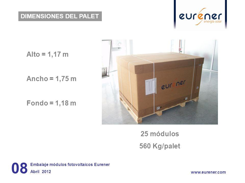 08 Alto = 1,17 m Ancho = 1,75 m Fondo = 1,18 m 25 módulos 560 Kg/palet