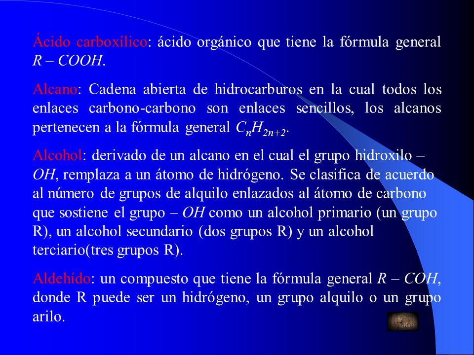 Ácido carboxílico: ácido orgánico que tiene la fórmula general R – COOH.
