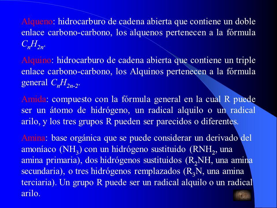 Alqueno: hidrocarburo de cadena abierta que contiene un doble enlace carbono-carbono, los alquenos pertenecen a la fórmula CnH2n.