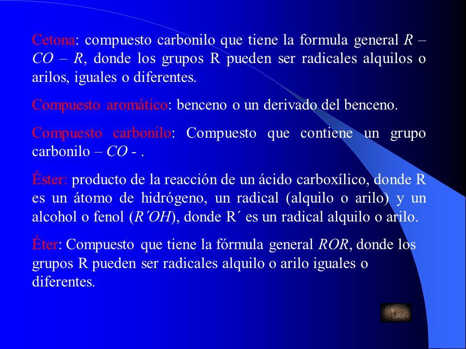 Cetona: compuesto carbonilo que tiene la formula general R – CO – R, donde los grupos R pueden ser radicales alquilos o arilos, iguales o diferentes.