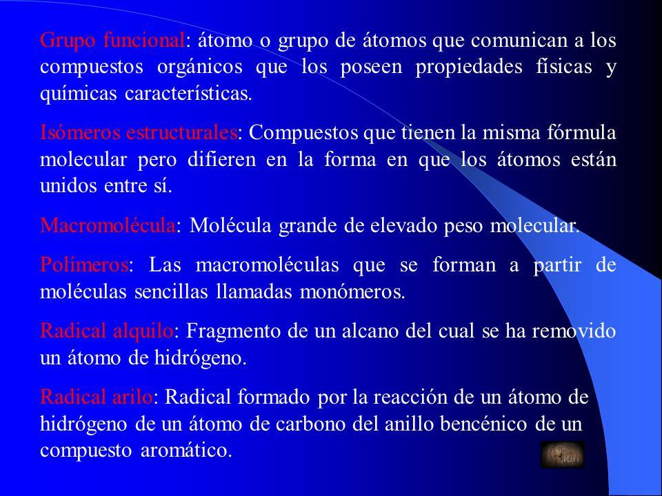 Grupo funcional: átomo o grupo de átomos que comunican a los compuestos orgánicos que los poseen propiedades físicas y químicas características.