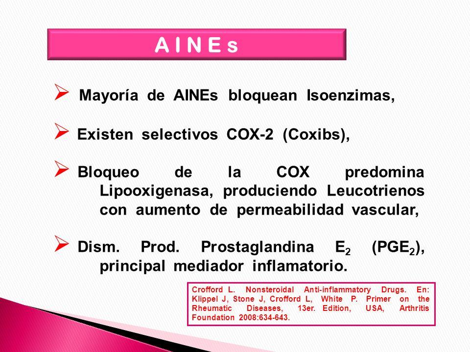 A I N E s Mayoría de AINEs bloquean Isoenzimas,