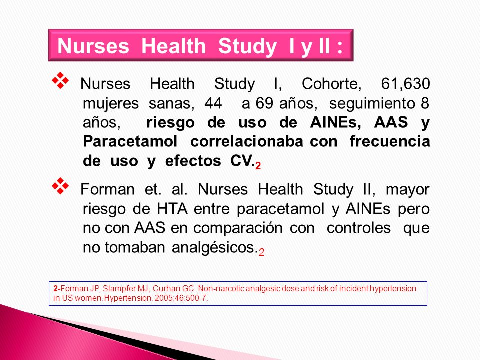 Nurses Health Study I y II :