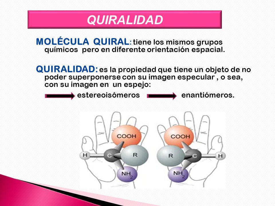 QUIRALIDAD MOLÉCULA QUIRAL: tiene los mismos grupos químicos pero en diferente orientación espacial.