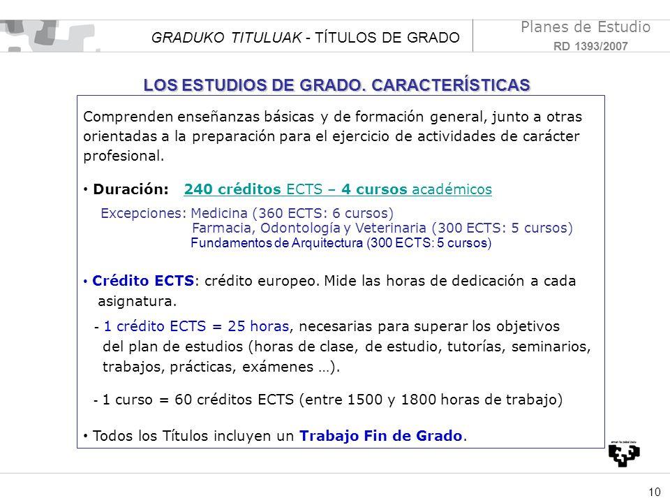 LOS ESTUDIOS DE GRADO. CARACTERÍSTICAS