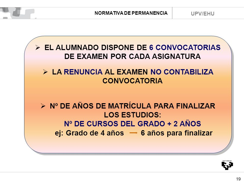 EL ALUMNADO DISPONE DE 6 CONVOCATORIAS DE EXAMEN POR CADA ASIGNATURA