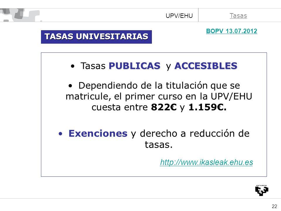 BOPV 13.07.2012 Exenciones y derecho a reducción de tasas.