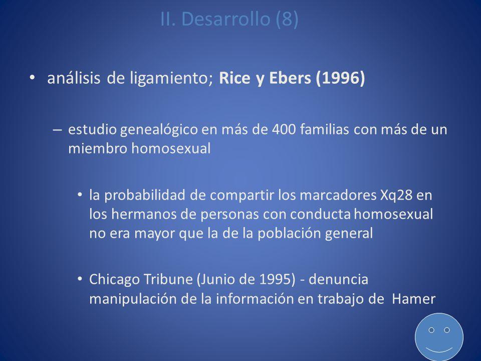 II. Desarrollo (8) análisis de ligamiento; Rice y Ebers (1996)