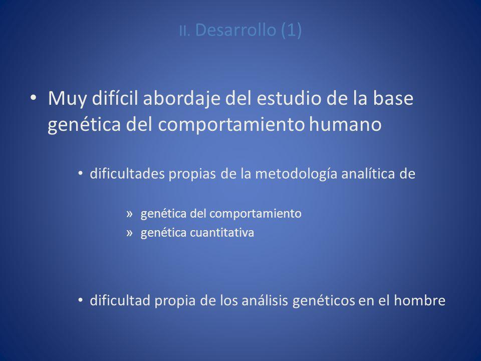 II. Desarrollo (1) Muy difícil abordaje del estudio de la base genética del comportamiento humano.