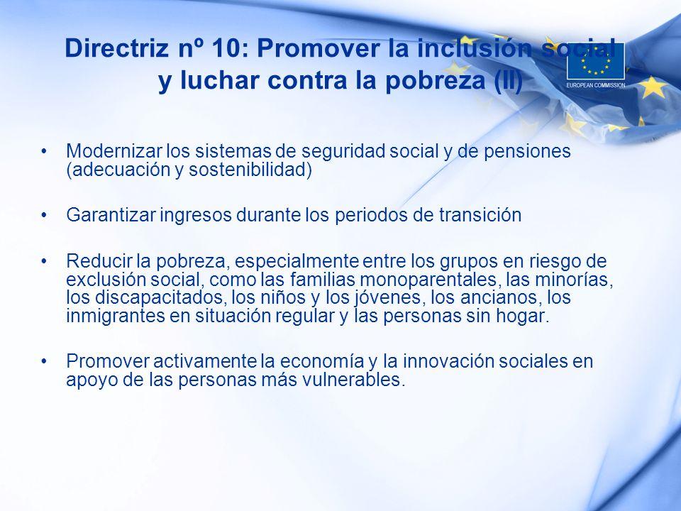 Directriz nº 10: Promover la inclusión social y luchar contra la pobreza (II)