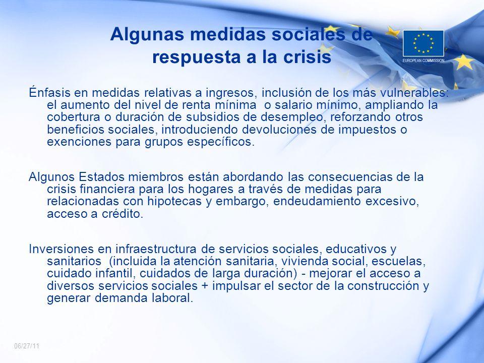 Algunas medidas sociales de respuesta a la crisis