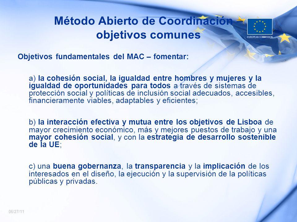 Método Abierto de Coordinación – objetivos comunes