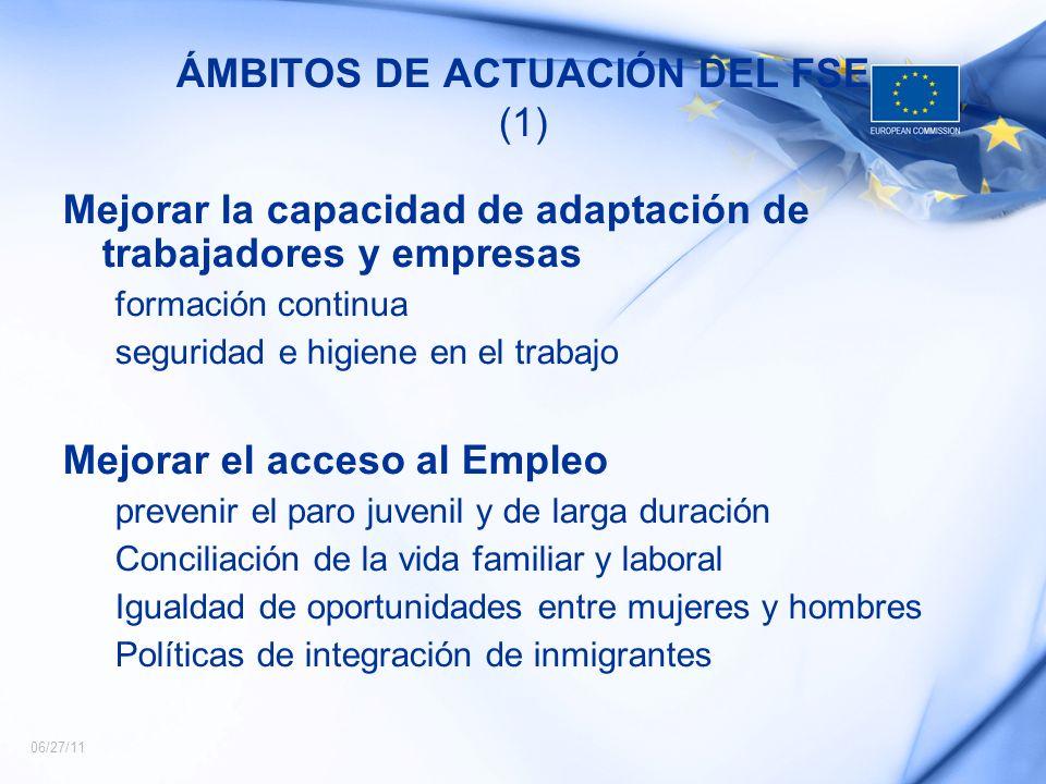 ÁMBITOS DE ACTUACIÓN DEL FSE (1)