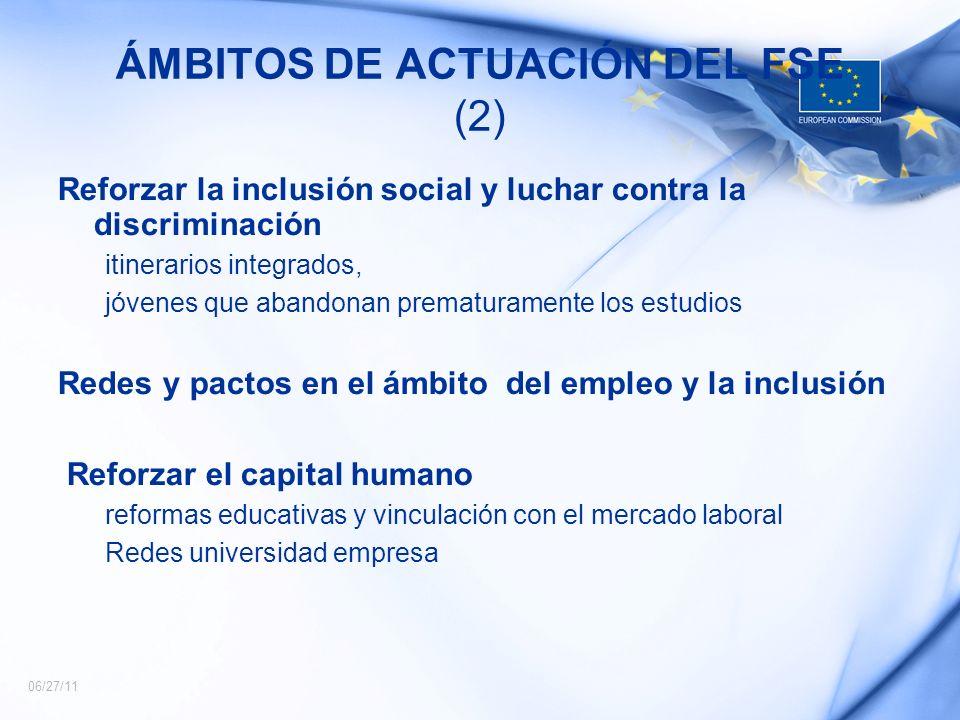 ÁMBITOS DE ACTUACIÓN DEL FSE (2)