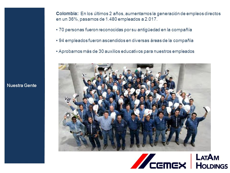 Nuestra Gente Colombia: En los últimos 2 años, aumentamos la generación de empleos directos en un 36%, pasamos de 1.480 empleados a 2.017.