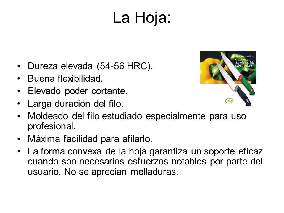 La Hoja: Dureza elevada (54-56 HRC). Buena flexibilidad.