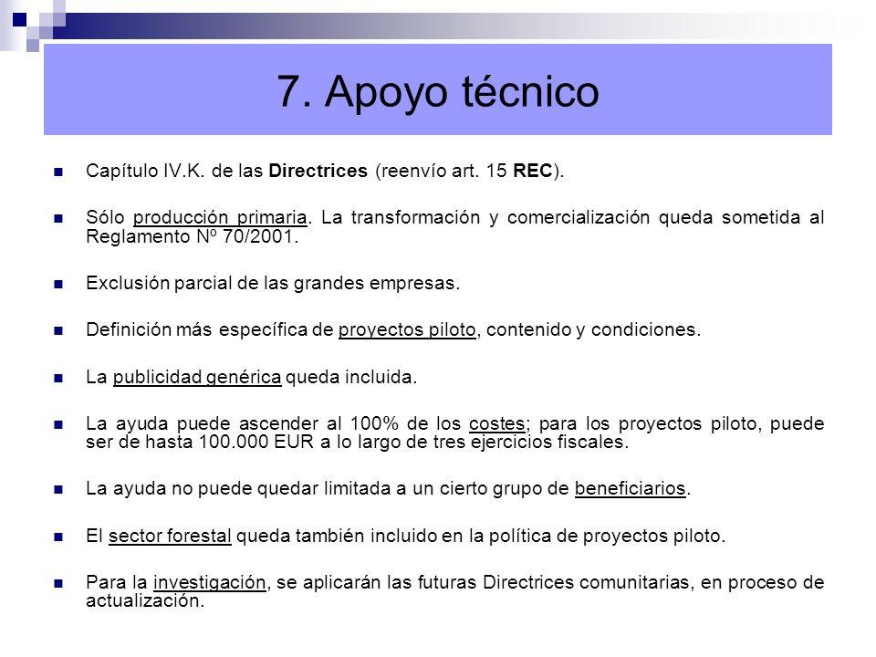 7. Apoyo técnicoCapítulo IV.K. de las Directrices (reenvío art. 15 REC).