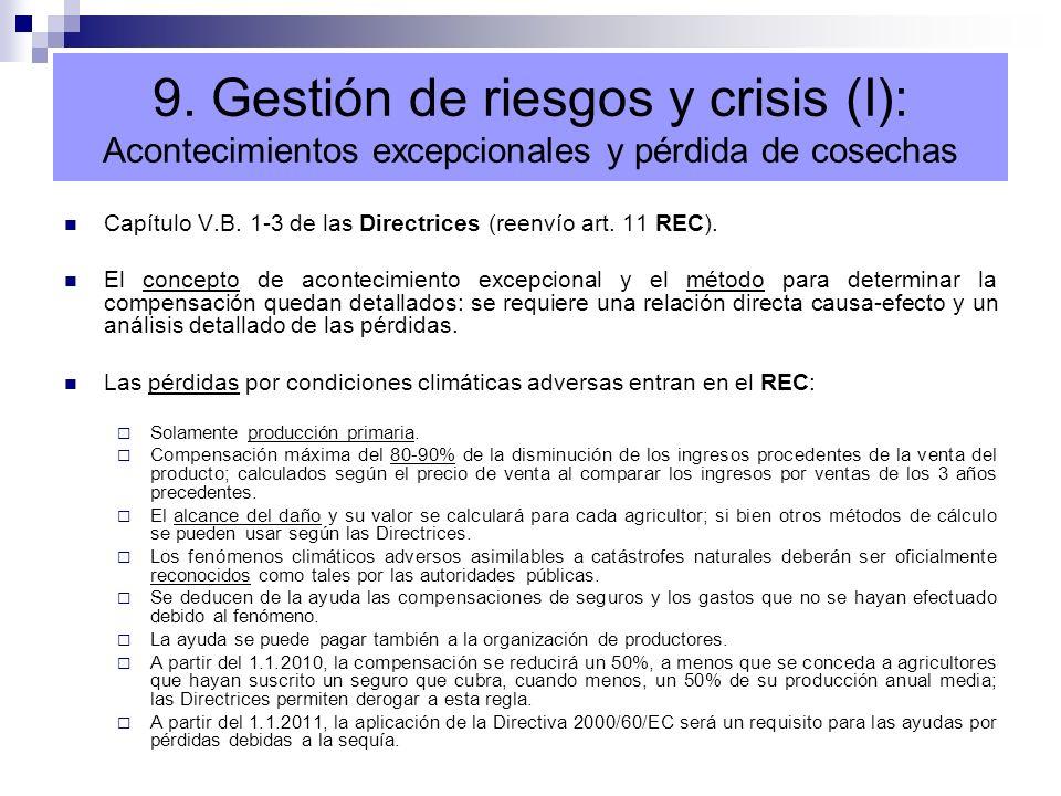 9. Gestión de riesgos y crisis (I): Acontecimientos excepcionales y pérdida de cosechas